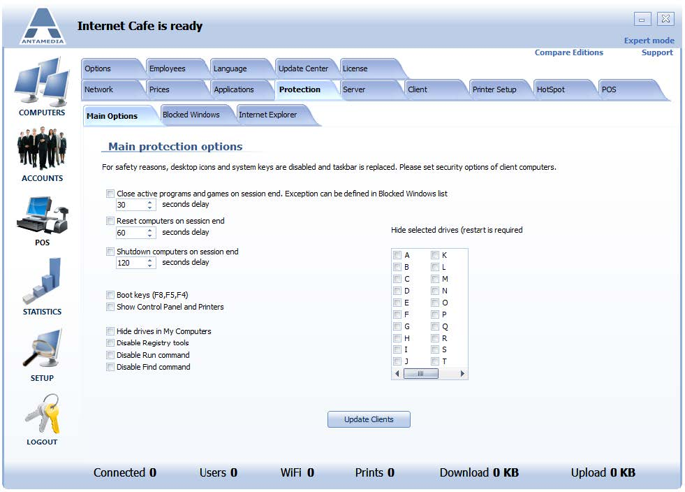 Protection Main Options I Antamedia software